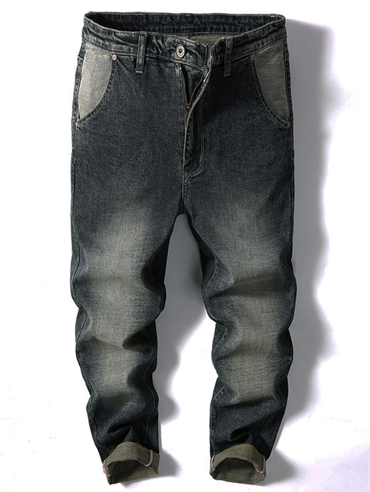 Store Casual Zipper Fly Faded Jeans