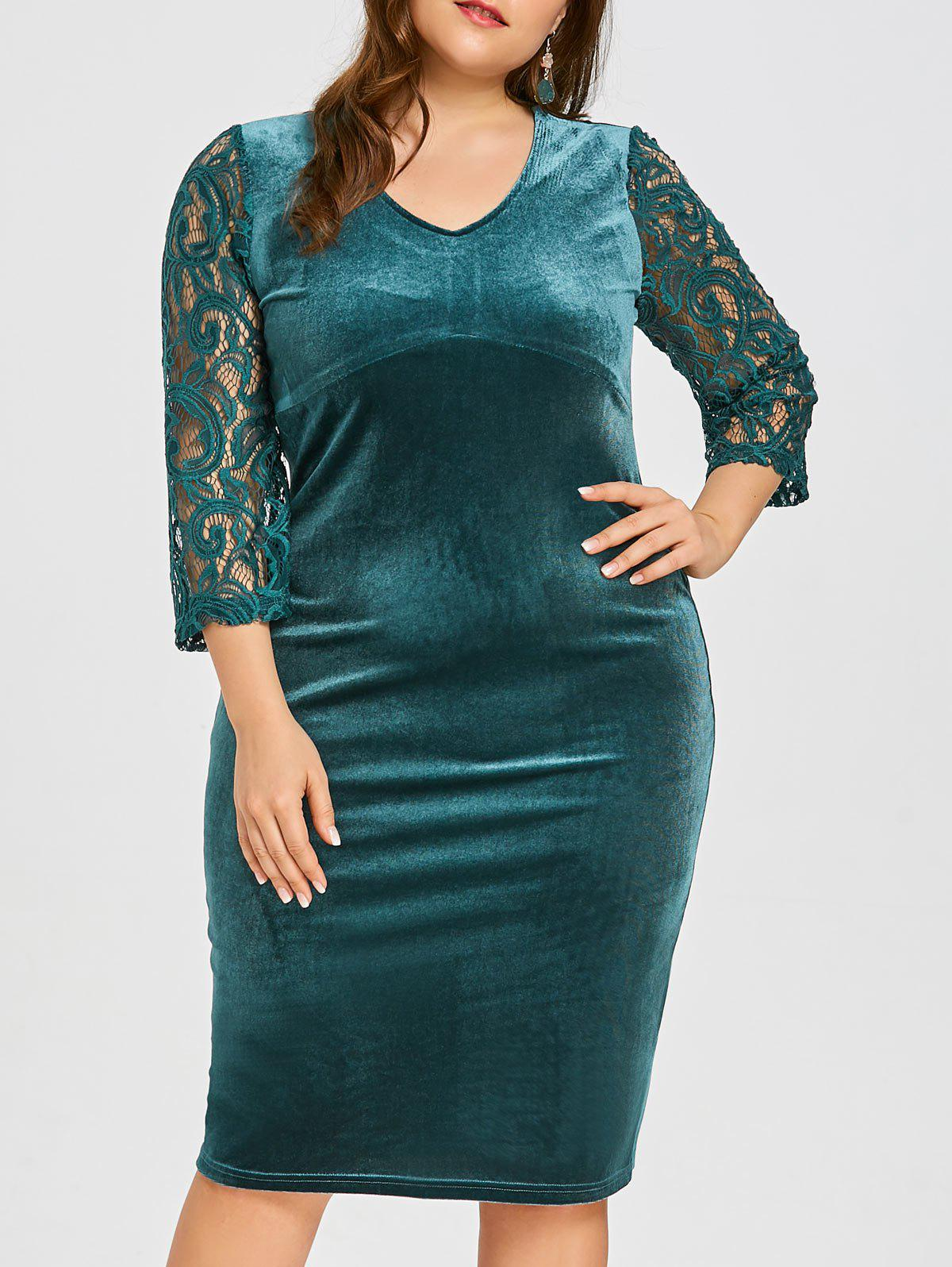 27a54af85bc7 Fashion Plus Size Floral Lace Velvet Bodycon Dress
