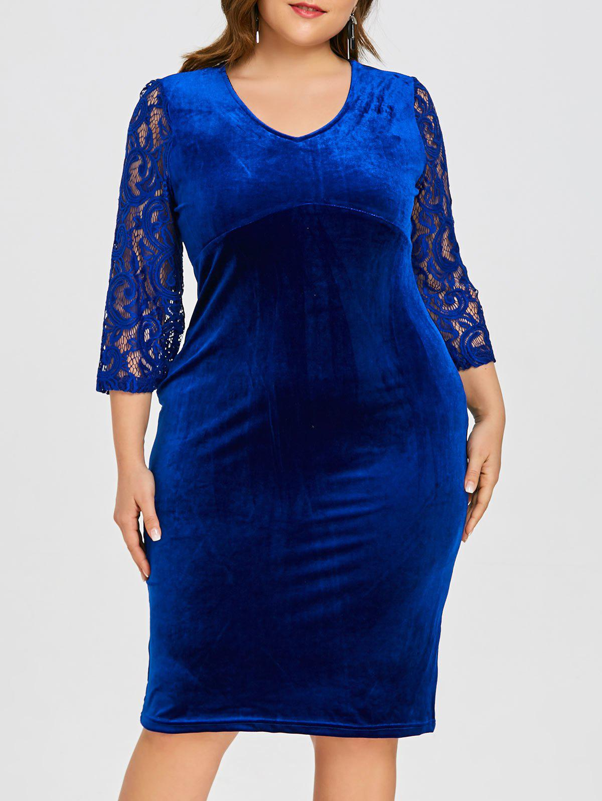Outfit Plus Size Floral Lace Velvet Bodycon Dress