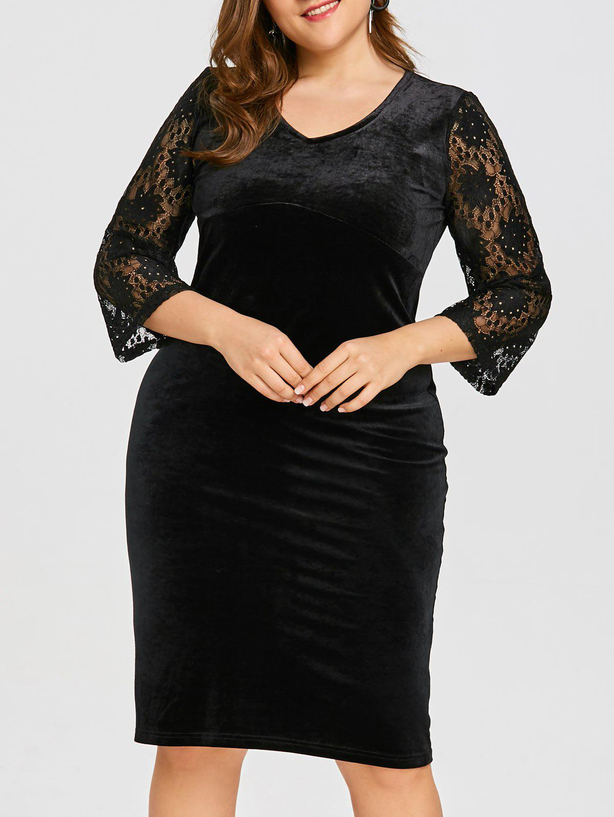 Best Plus Size Floral Lace Velvet Bodycon Dress