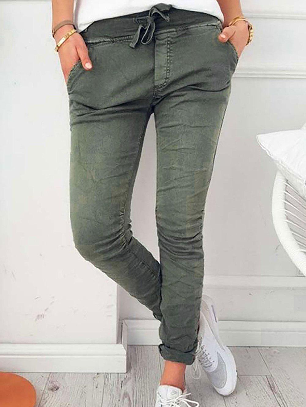 Latest Drawstring Skinny Pants with pockets