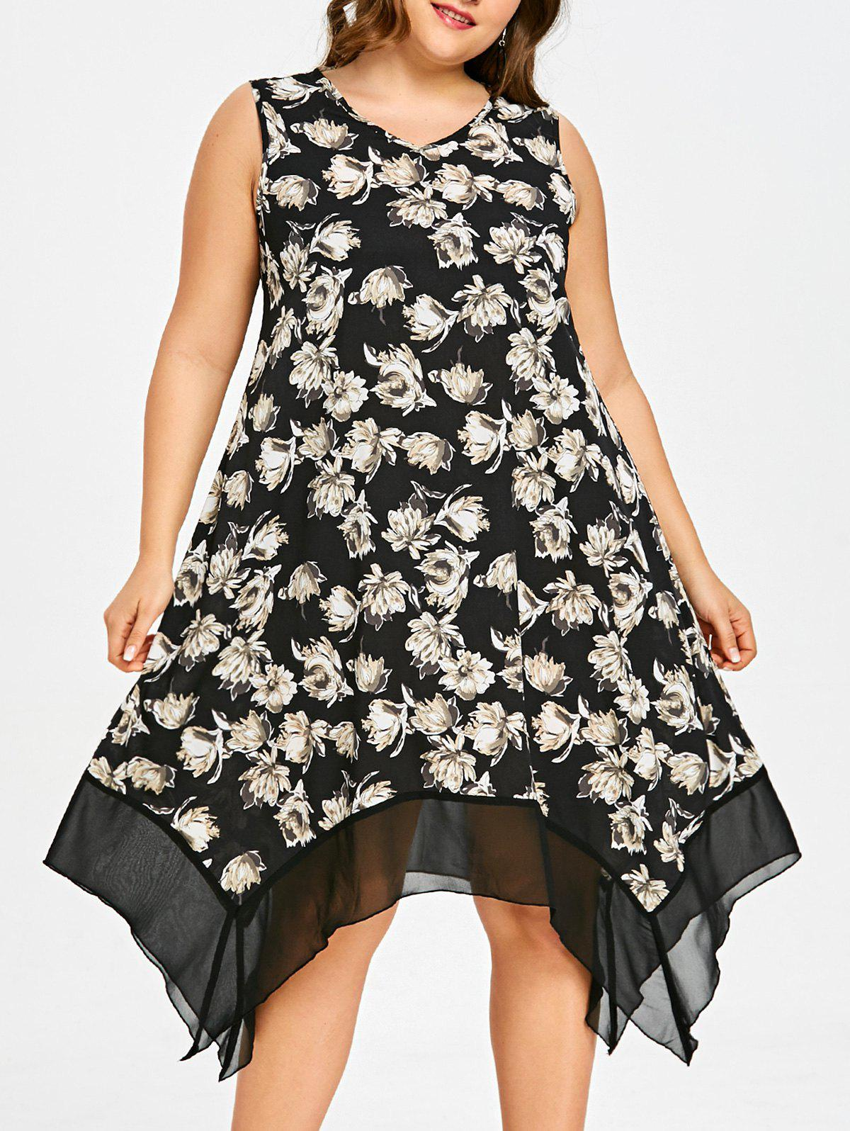 Chic Floral Plus Size Asymmetric Swing Dress