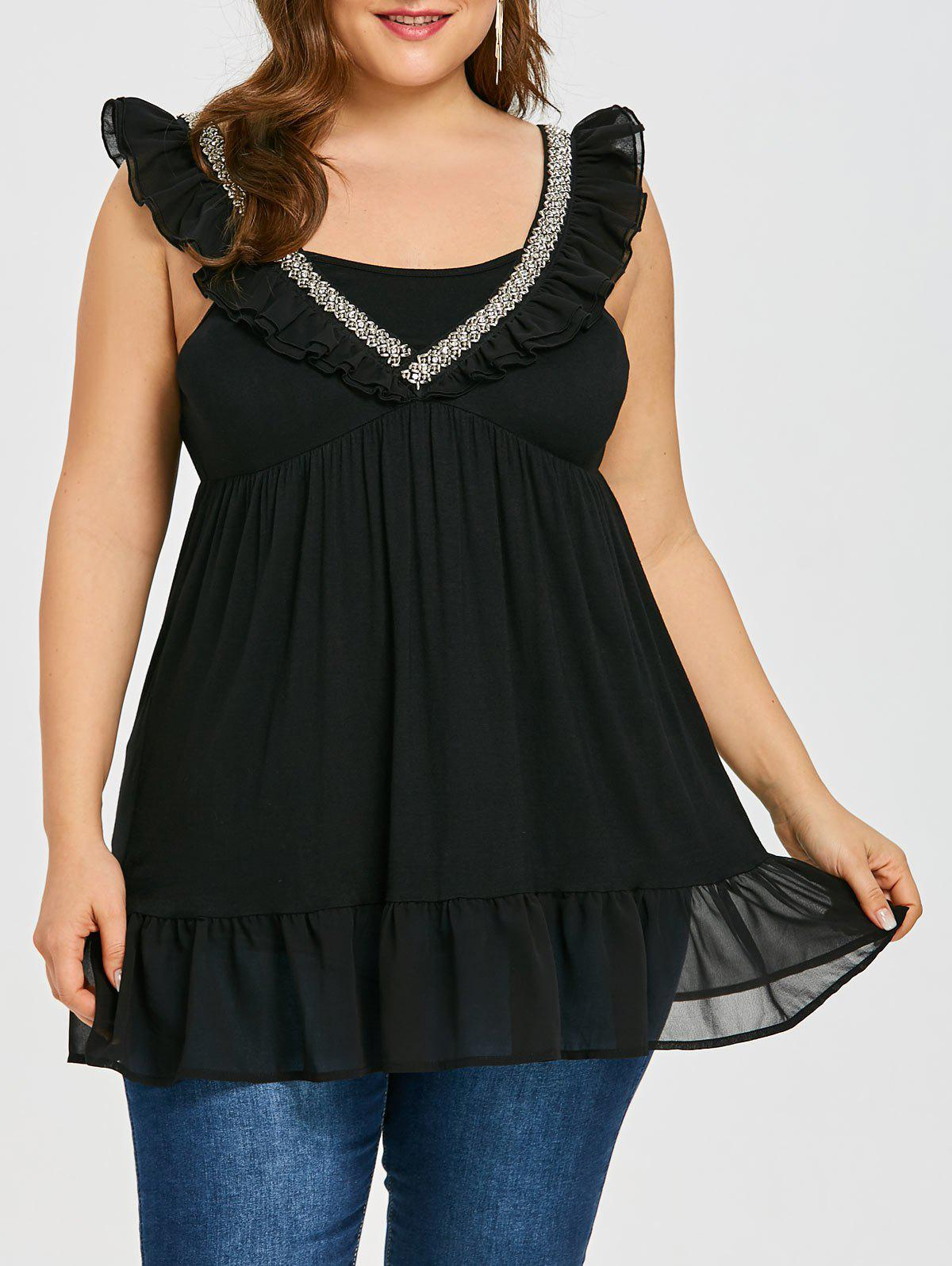 Outfits Rhinestone Ruffle Plus Size Sleeveless Blouse