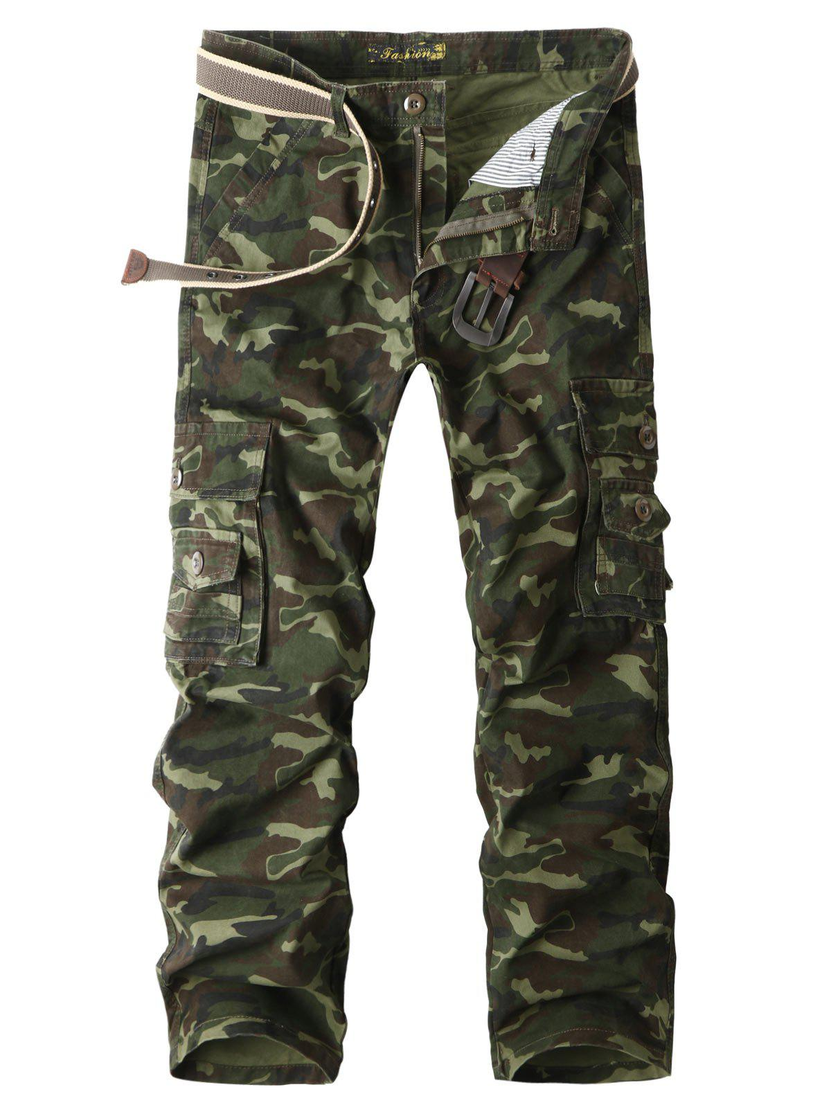 Discount Flap Pockets Straight Camouflage Cargo Pants