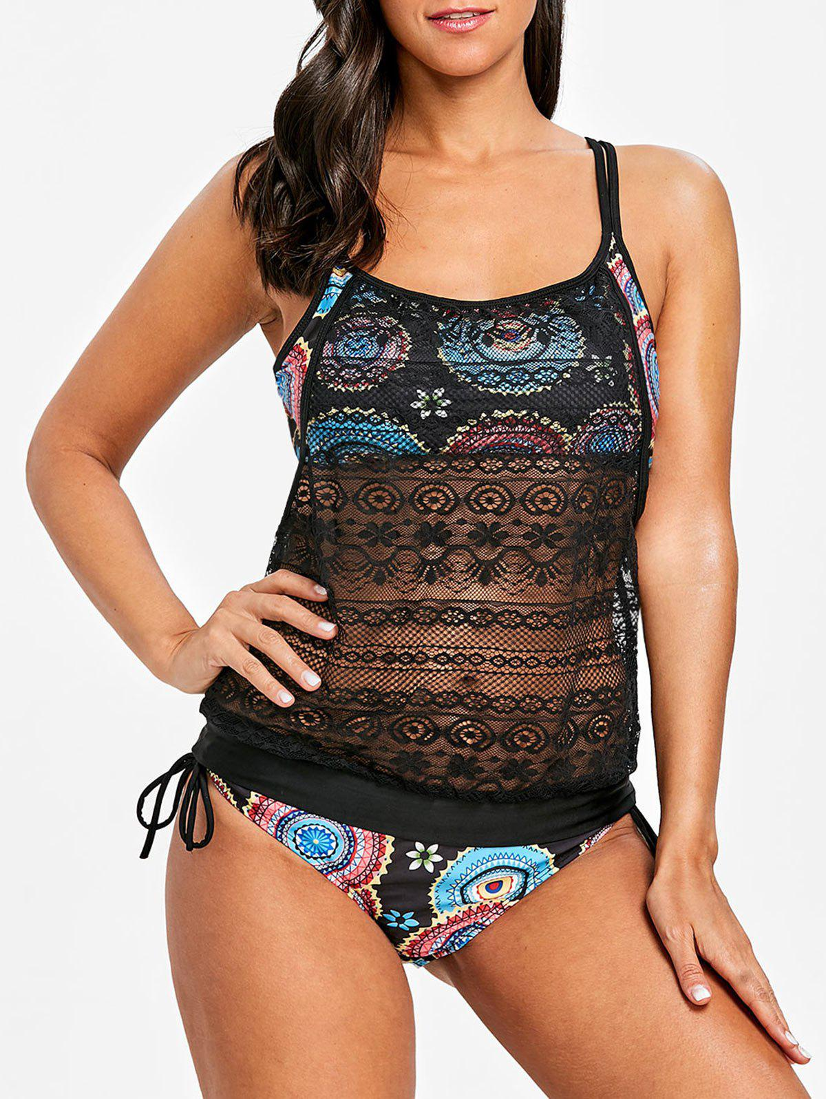 Affordable Round Print Lace Overlay Tankini