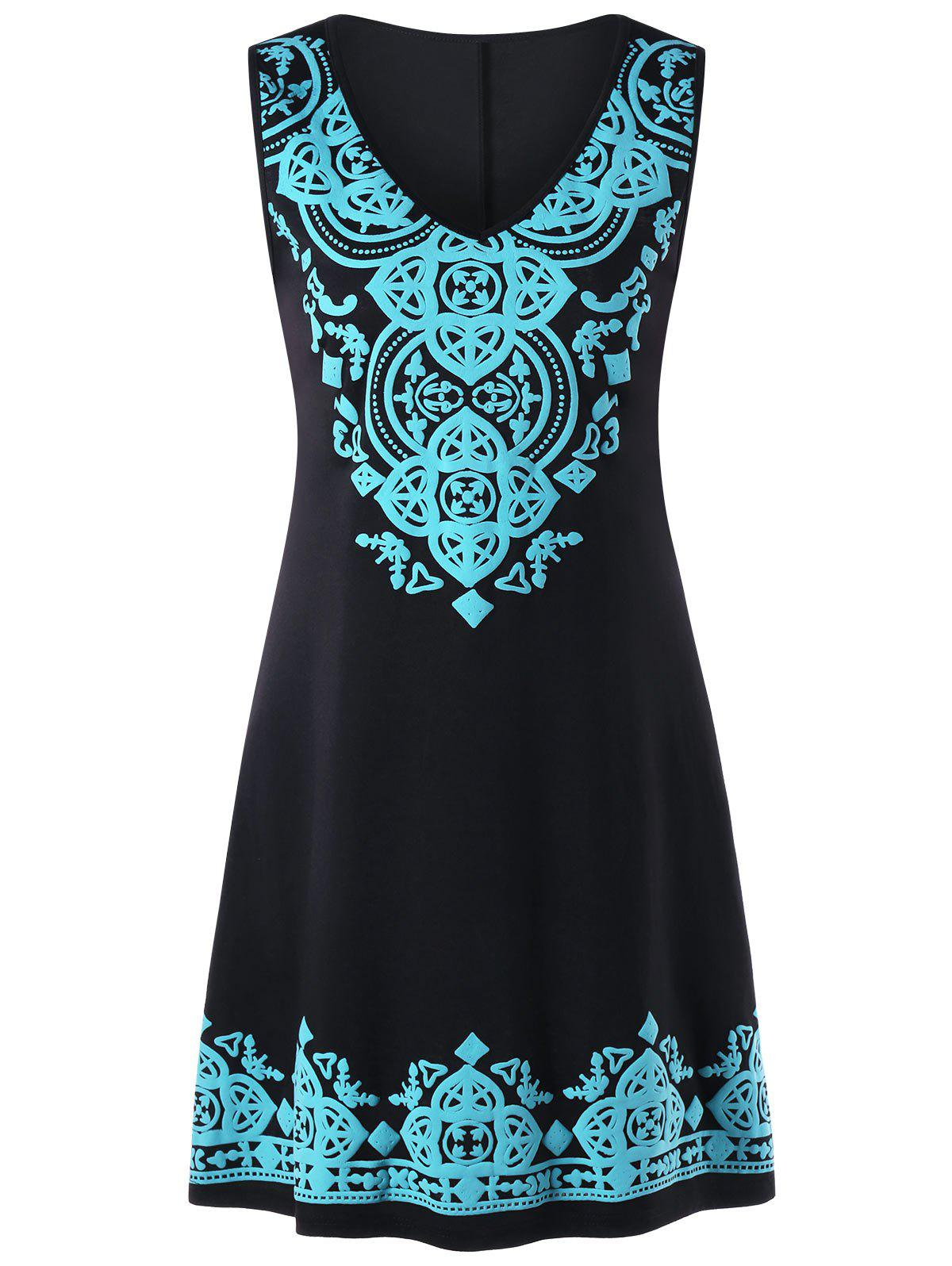 Outfit Sleeveless V Neck Tribal Print Dress