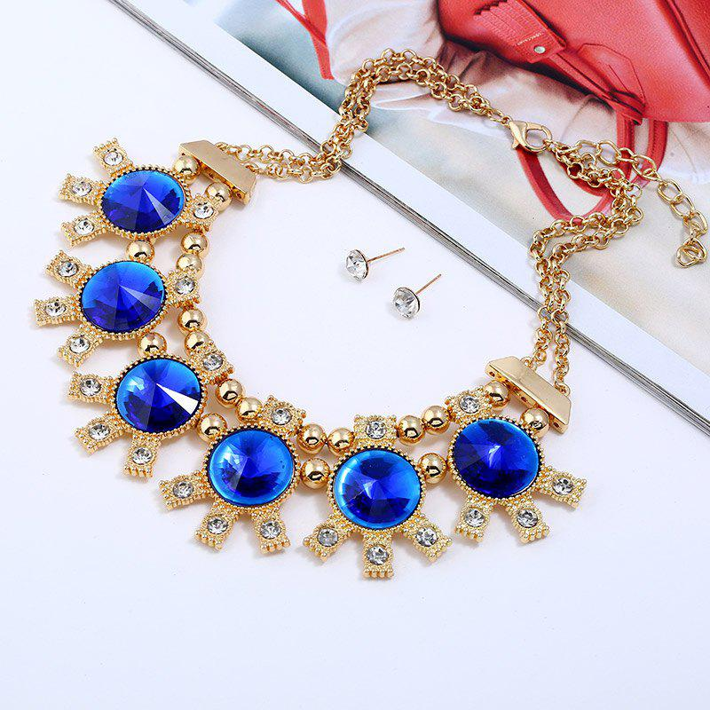 Online Sparkly Rhinestoned Alloy Round Party Jewelry Set