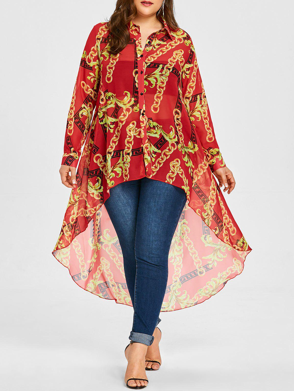 Affordable Chiffon Plus Size Long High Low Top