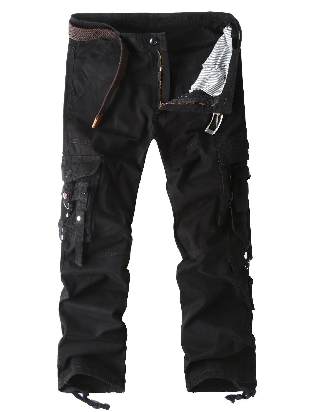 Online Zip Fly Multi Pockets Straight Cargo Pants
