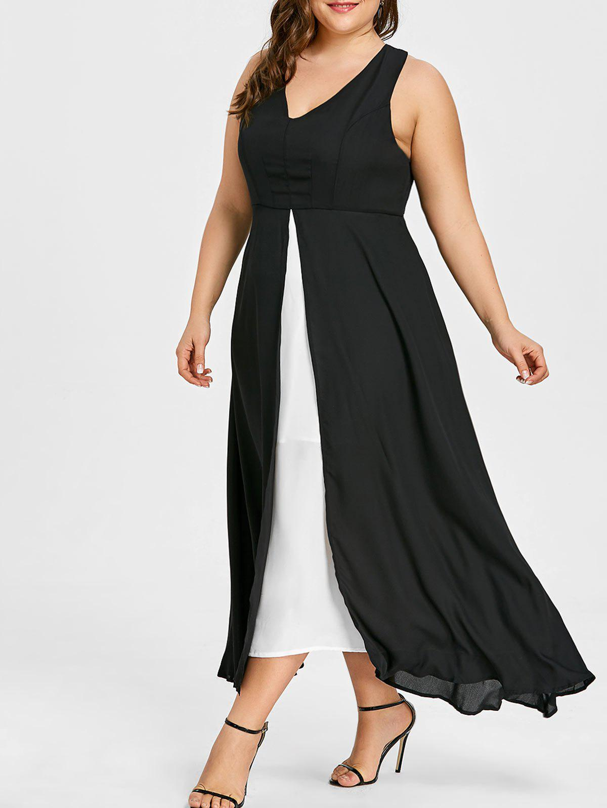 Affordable Plus Size Slit Two Tone Dress