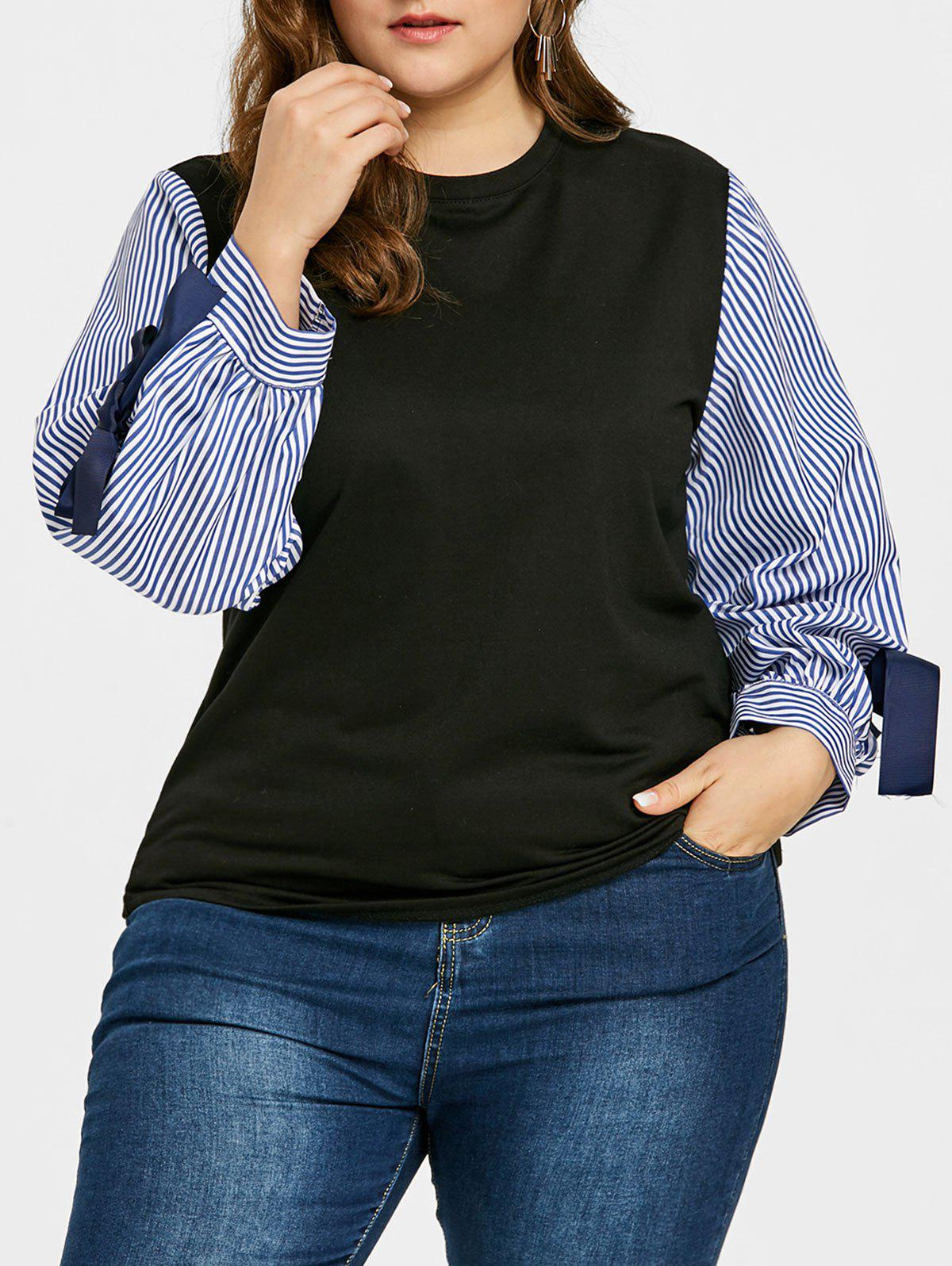 Buy Plus Size Bowknot Embellished Striped Sleeve Top