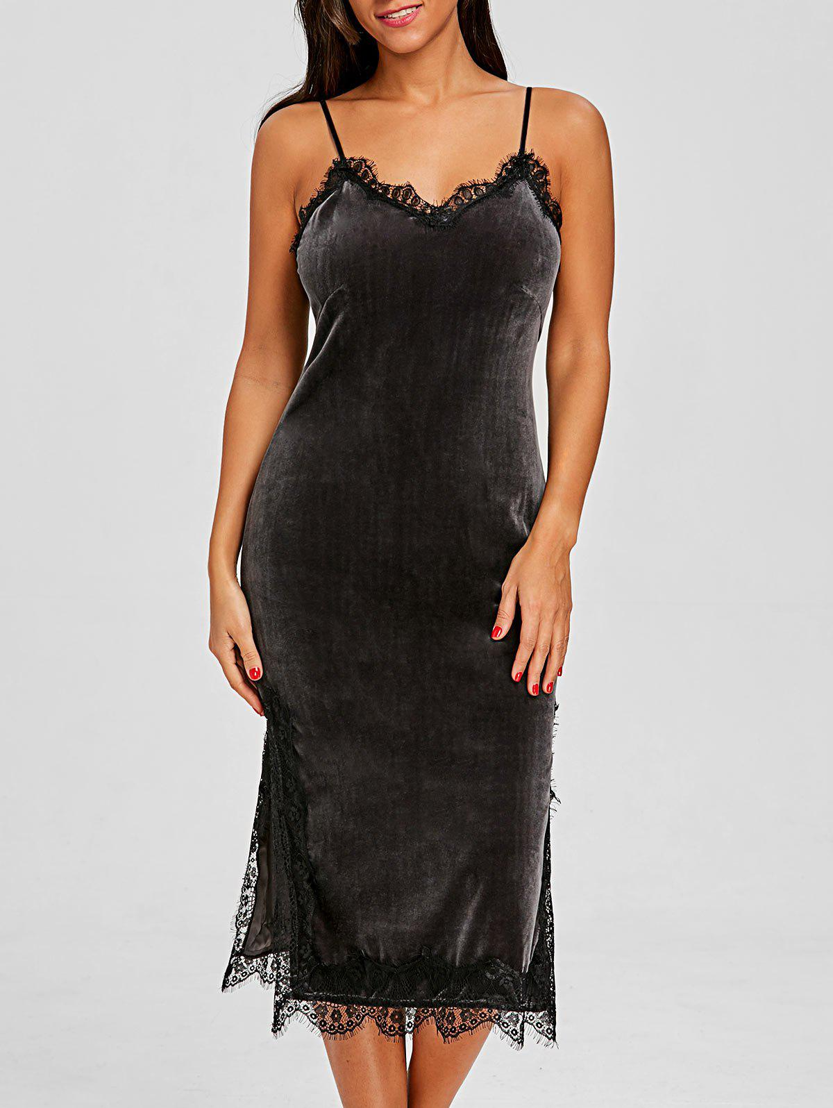 Sale Lace Trim Velvet Sleep Camisole Dress