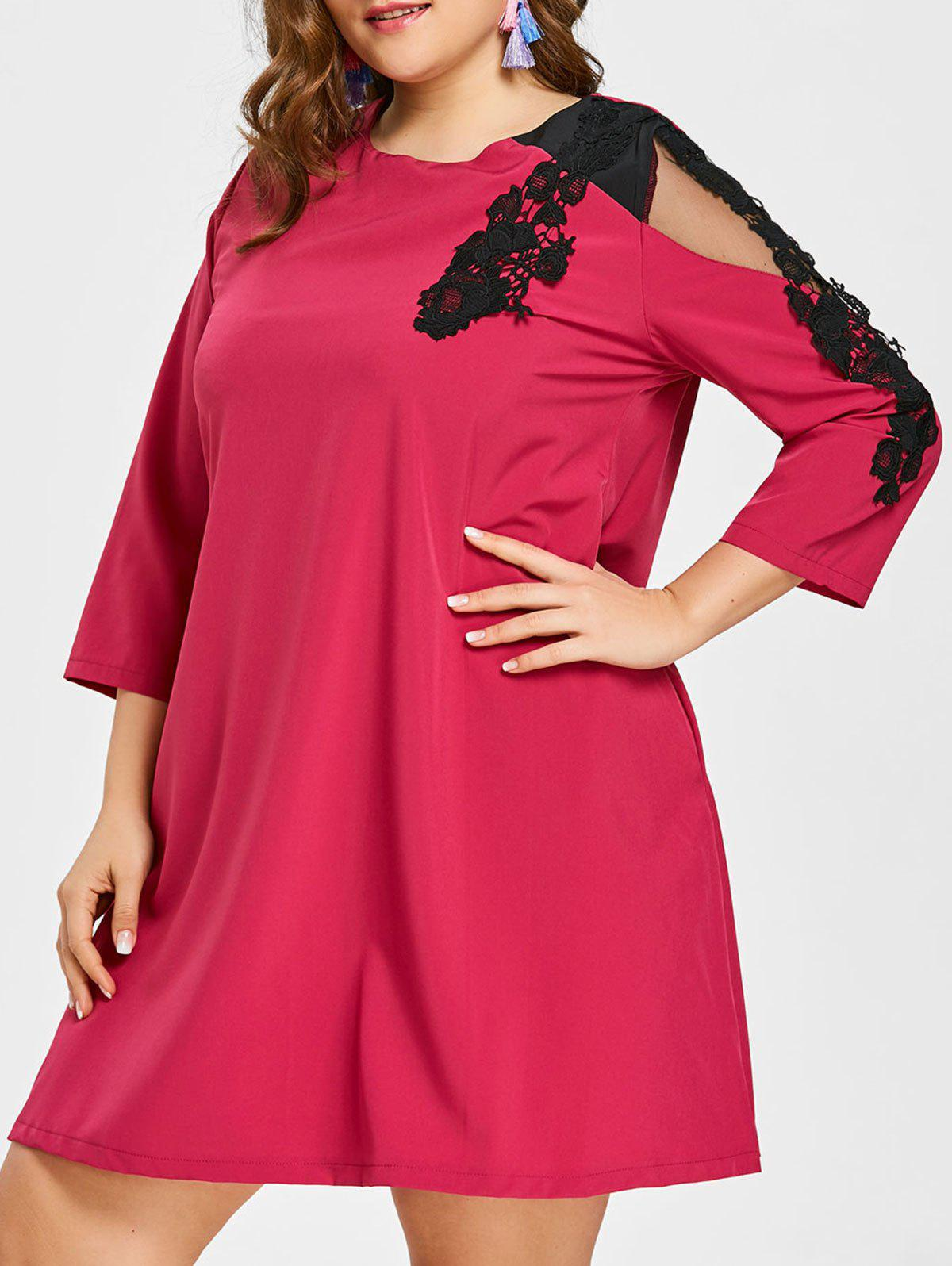 New Plus Size Lace Insert Swing Dress