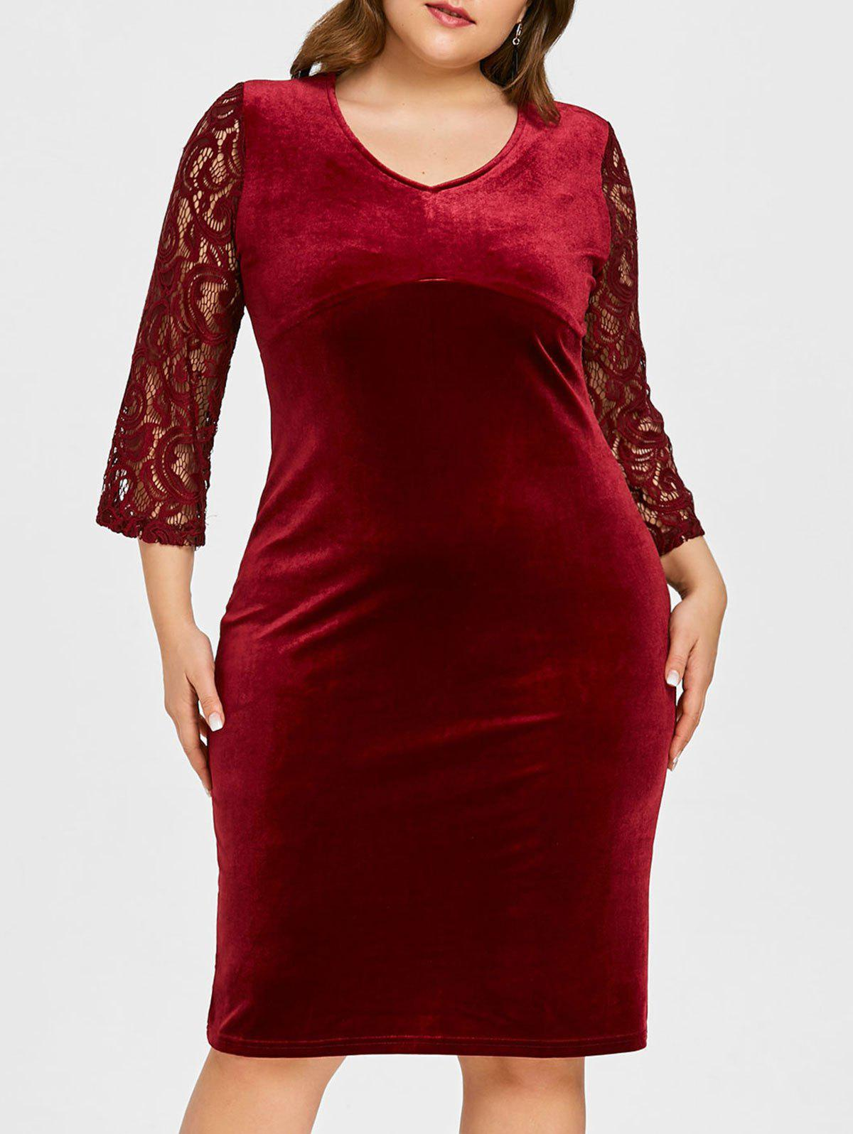 Hot Plus Size Floral Lace Velvet Bodycon Dress