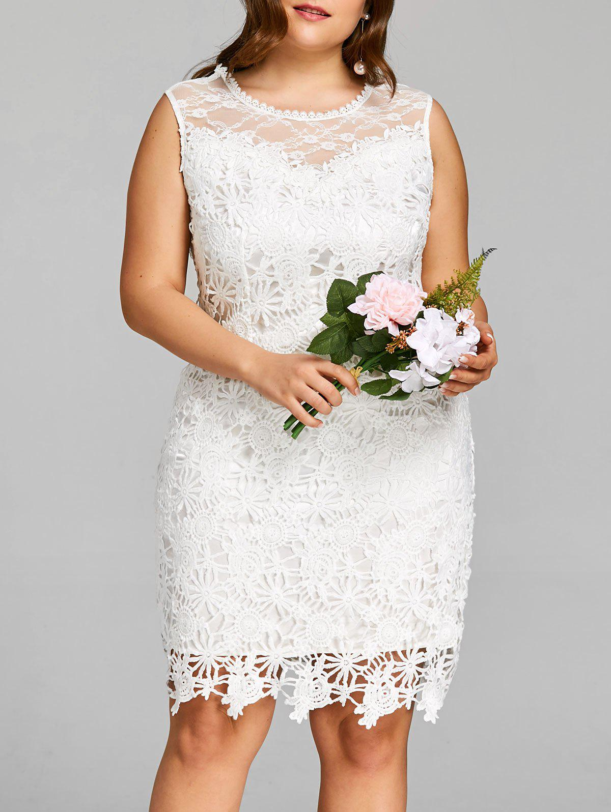 39% OFF] Plus Size Sleeveless Knee Length Lace Dress | Rosegal