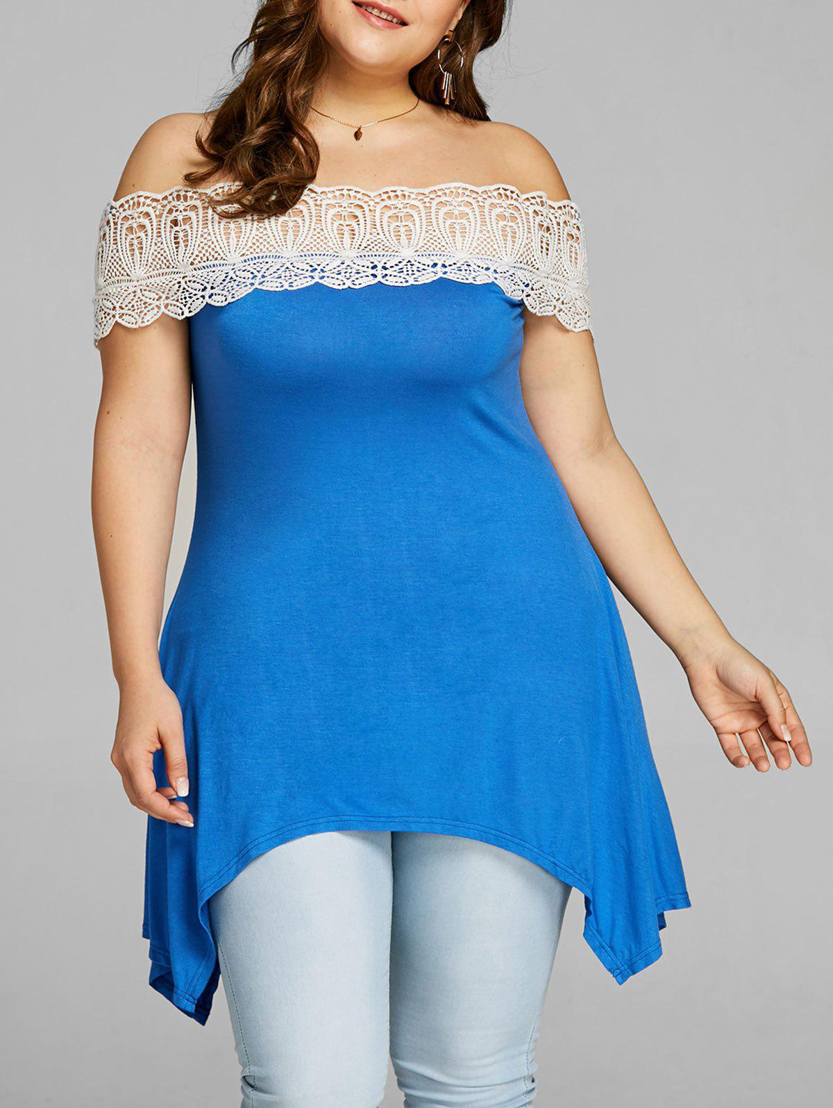 Buy Plus Size Off Shoulder Crescent Hem T-shirt