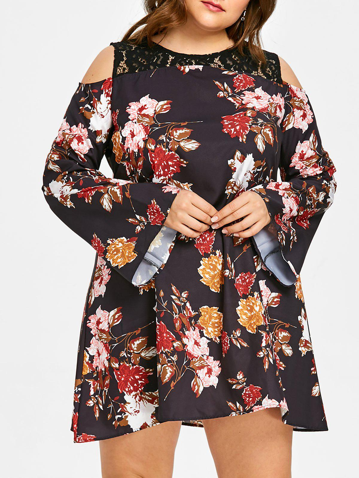 Trendy Plus Size Floral Open Shoulder Dress