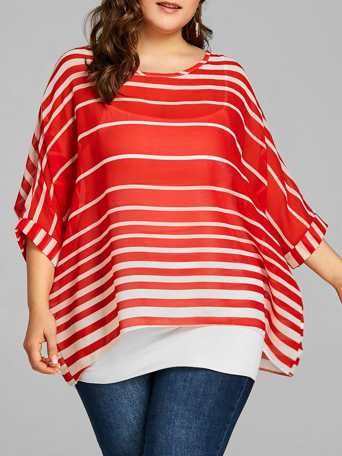 f4ee9c72a2b9 45% OFF] Plus Size Striped Dolman Sleeve Tunic | Rosegal