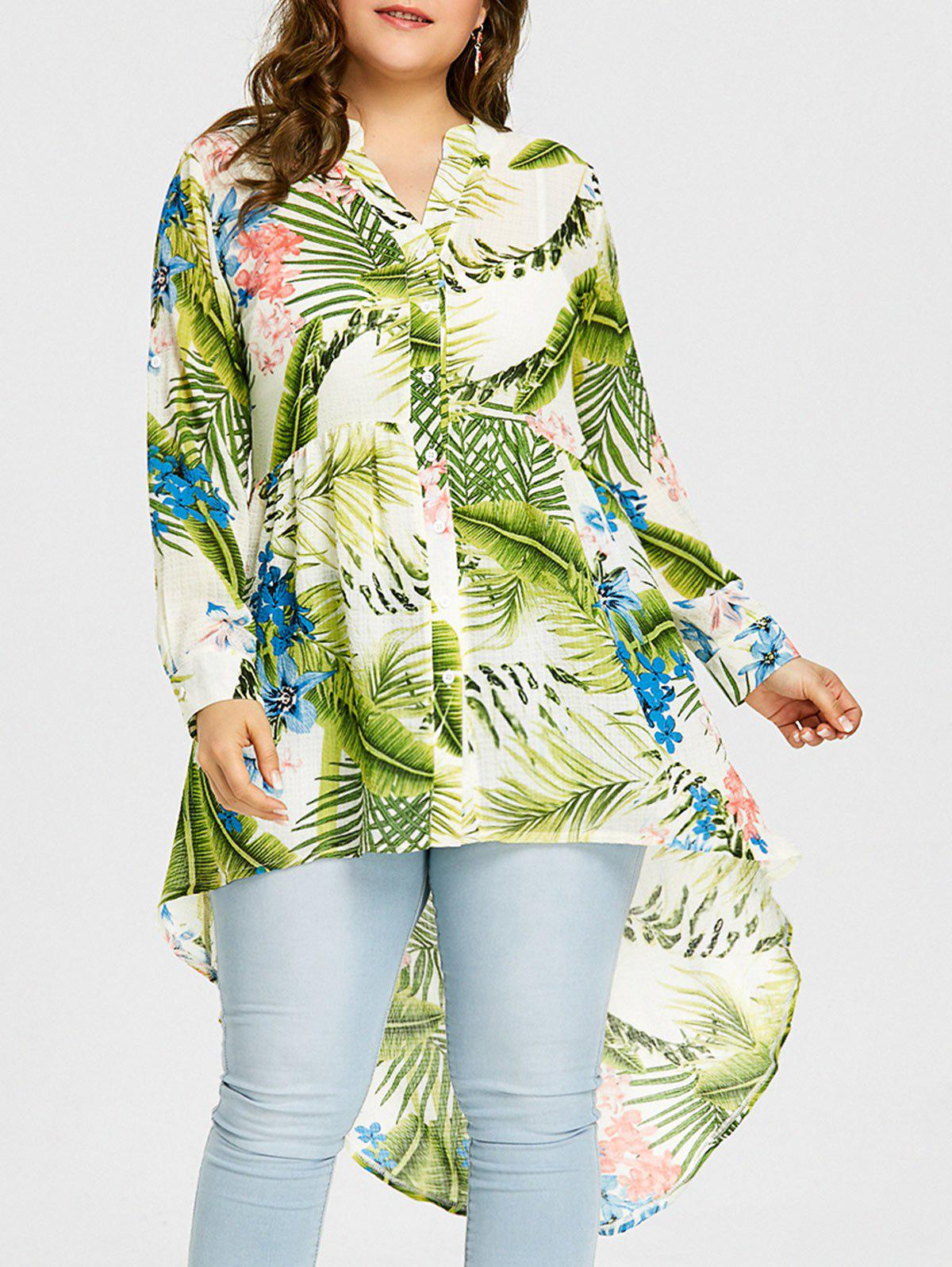 Affordable Plus Size Tropical Leaf Print High Low Blouse