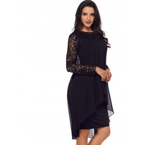 Lace Sleeve Layered Bodycon Dress -
