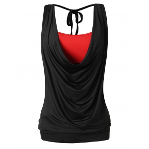 Plus Size Side Boob Draped Top with Cami -