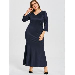 Plus Size V Neck Mermaid Party Dress -