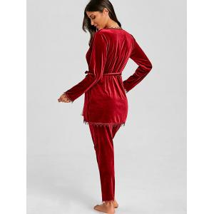 Lingerie Velvet Chemise Pants and Robe 3 Piece Pajamas -