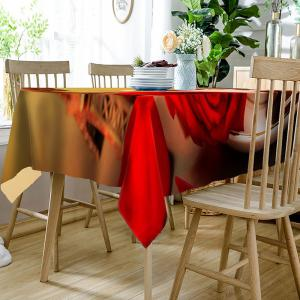 Coffee Rose Eiffel Tower Printed Waterproof Table Cloth -