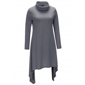 Turtle Neck Asymmetric Casual Dress -