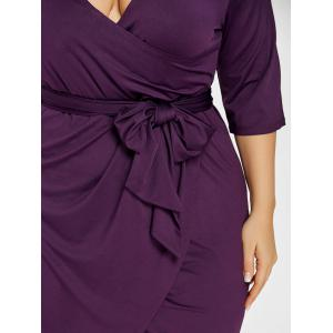 Плюс Размер Tulip Surplice Belted Dress -