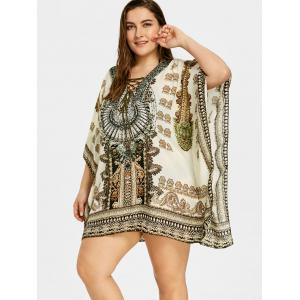 Plus Size Graphic Rectangle Beach Cover Up -