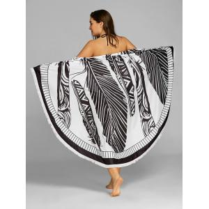 Fringed Feather Print Beach Throw -