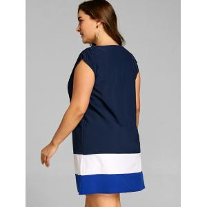 Plus Size Color Block Cap Sleeve Dress -