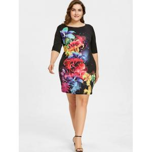 Flower Pattern Plus Size Sheath Dress -