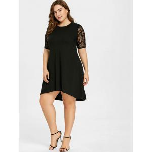 Plus Size High Low Floral Lace Panel Dress -