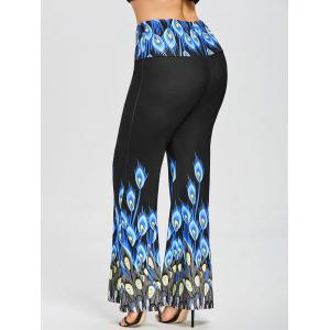 Plus Size Long Peacock Print Palazzo Pants -