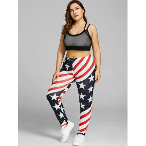 Patriotic American Flag Print Plus Size Leggings -