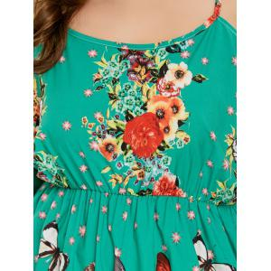 Plus Size Butterfly Flower Print Backless Dress -