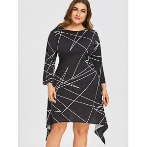Plus Size Geometric Print Asymmetric Dress -