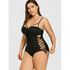 Plus Size Lace Up Ruched Swimsuit -