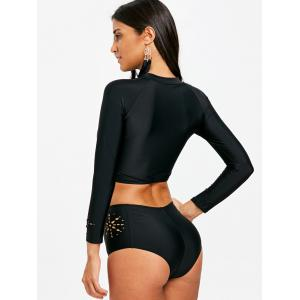 Openwork Long Sleeve Rashguard Swimwear -