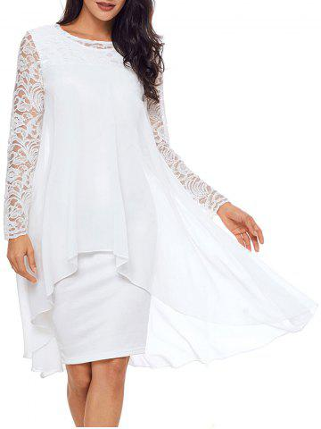 Chic Lace Sleeve Layered Bodycon Dress