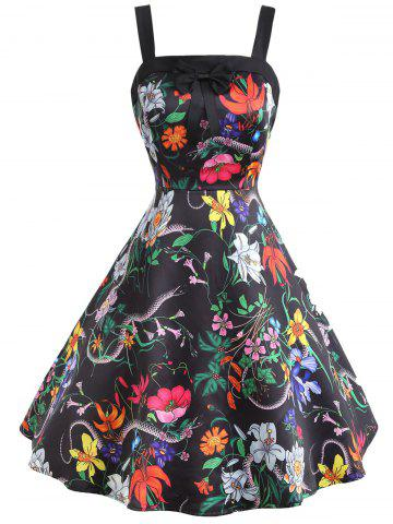 Fashion Flower Snake Print Sleeveless Vintage Dress