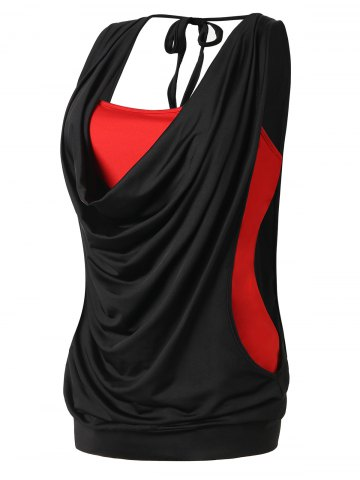 New Plus Size Cowl Neck 2 in 1 Tank Top