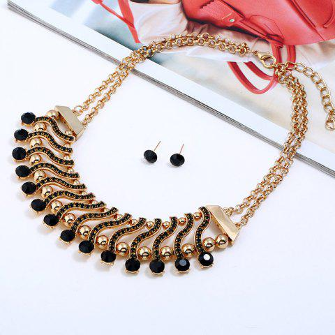 Trendy Two-double False Gem Hollow Out Necklace and Stud Earrings