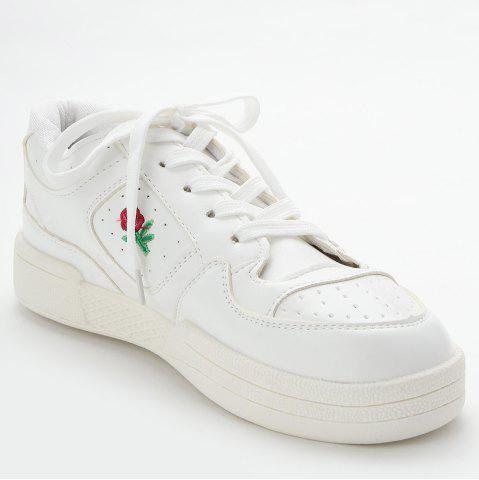 Trendy PU Leather Embroidered Sneakers