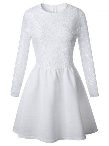 Cheap Lace Long Sleeve Skater Dress