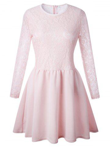 Best Lace Long Sleeve Skater Dress