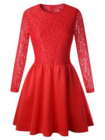 Chic Lace Long Sleeve Skater Dress