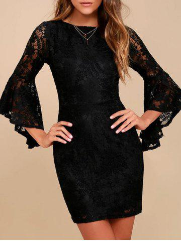 Fashion Flare Sleeve Bodycon Lace Dress